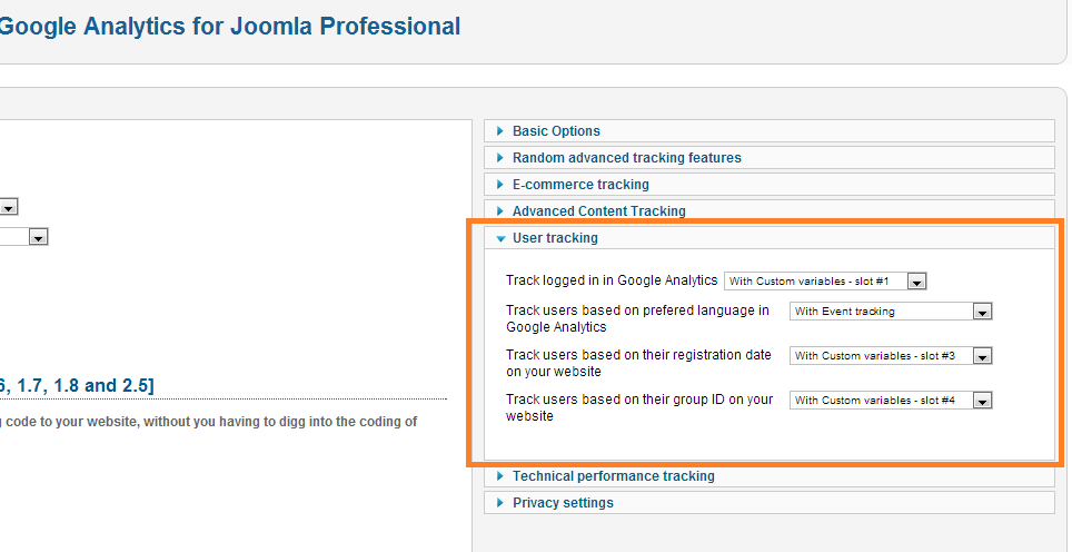Google Analytics user tracking